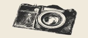 drawing of an old fashioned camera