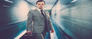 Millennial Business man on fast escalator